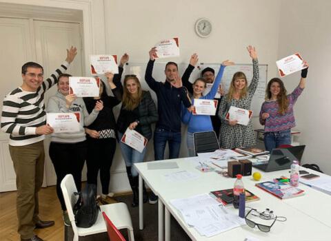 Kursabschluss A2.1. im Februar 2019 – wir lernen Deutsch mit IFU zusammen.