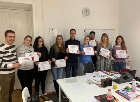 Kursabschluss A2.1. im Februar 2019 – wir lernen Deutsch in Wien mit IFU zusammen.