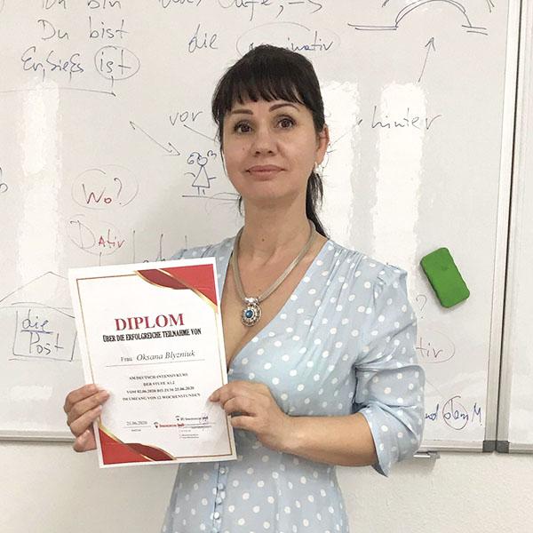 Oksana Blyzniuk; Ukraine; Stufe: A1.2;