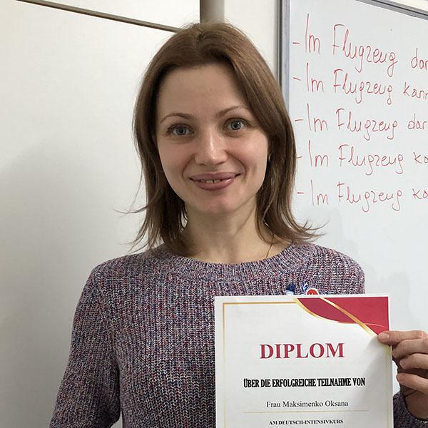 Oksana Maksymenko; Ukraine; Stufe: A 1.2